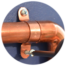 Brass clip pipe. Covers clips
