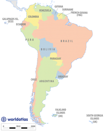 Landforms drawing name. South america political map