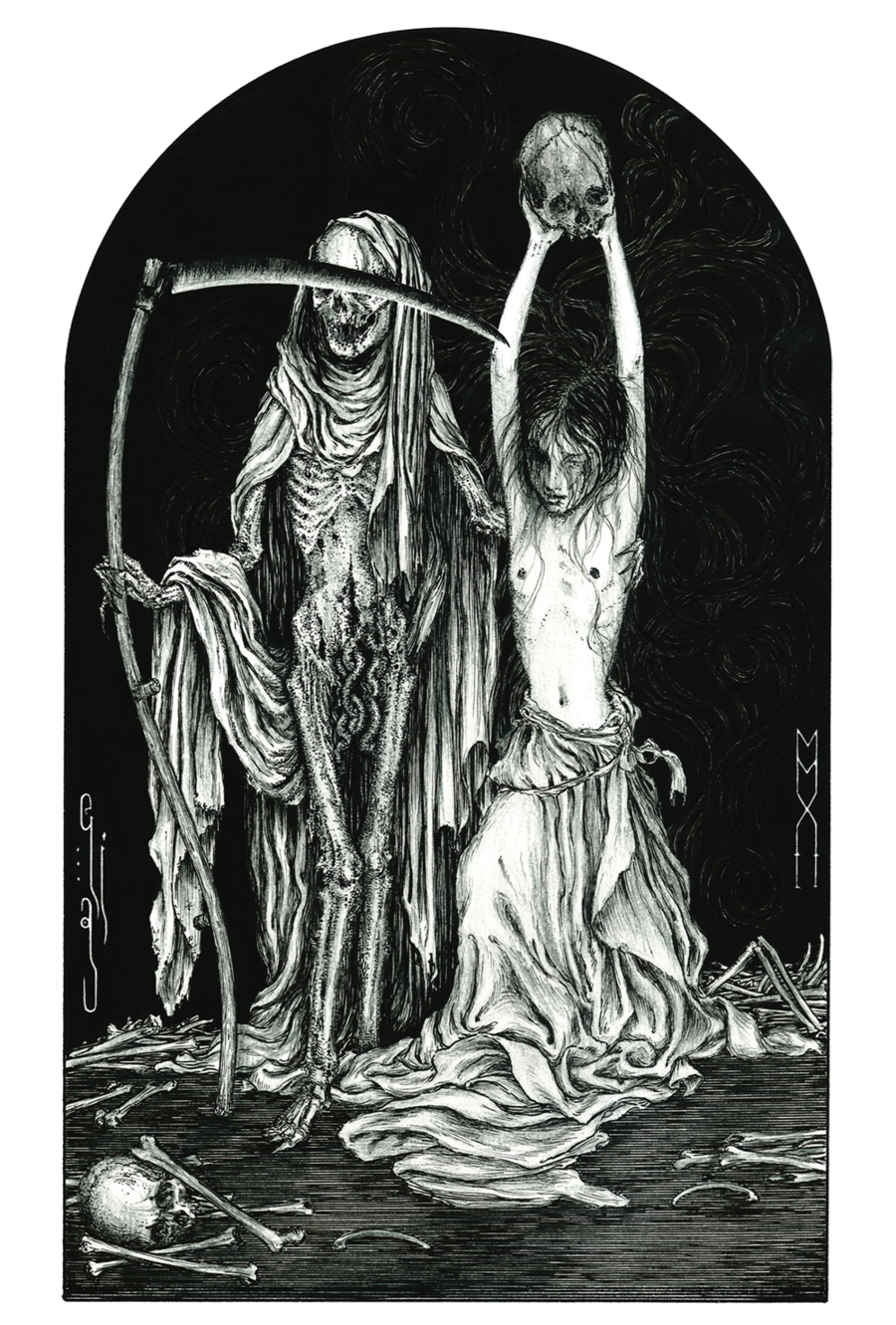 Brazil drawing religious art. Death and the maiden