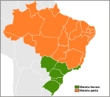 Brazil drawing social statement. Apartheid in wikipedia states