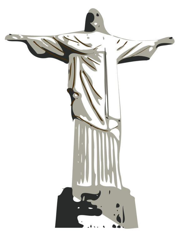 Brazil drawing statue. Christ the redeemer christian