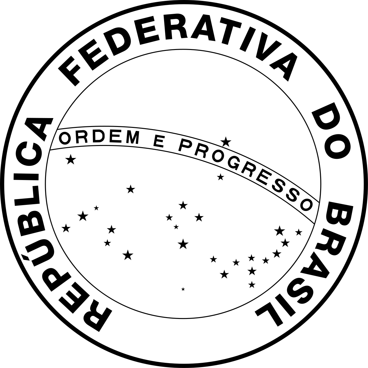 Brazil drawing symbol. National seal of wikipedia