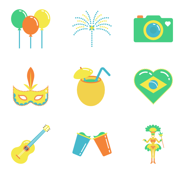 Brazil vector. Icons free color elements