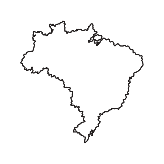 Brazil vector geography. Map of landmark icons