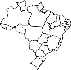 Brazil vector line drawing. Map of clip art
