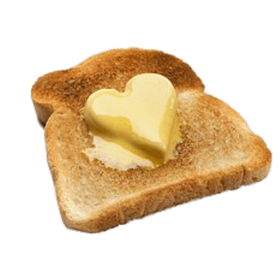 Transparent toast plain. Collection of butter