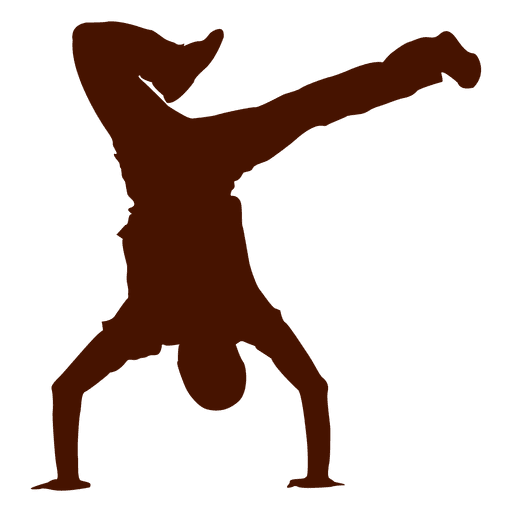Vector dancer break dancing. Male dance silhouette transparent