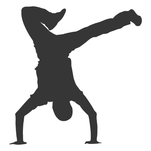 Vector dancer break dancing. Silhouette transparent png svg