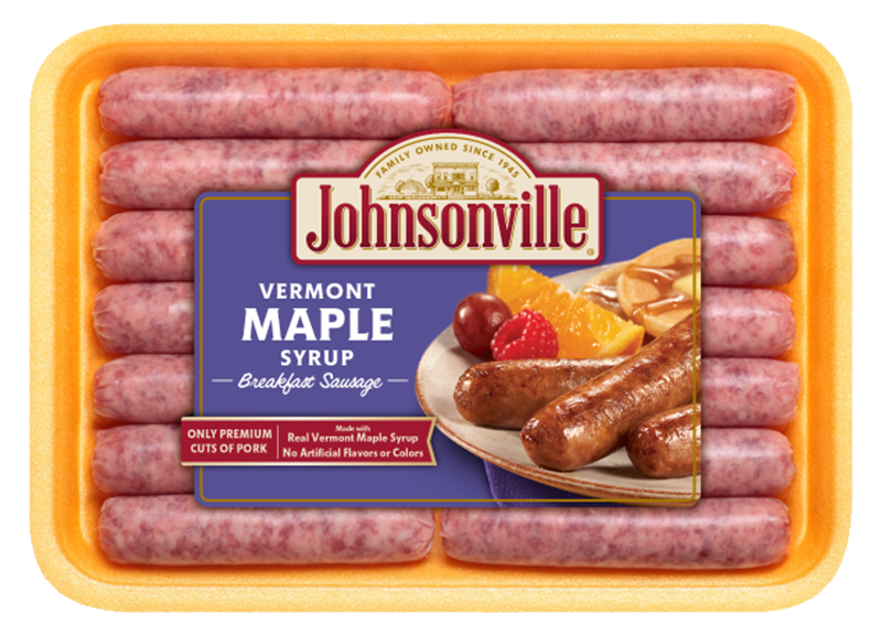 Breakfast transparent sausage. Vermont maple syrup links