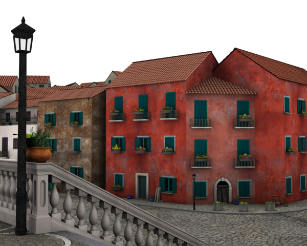 Brick building png. Red three story by