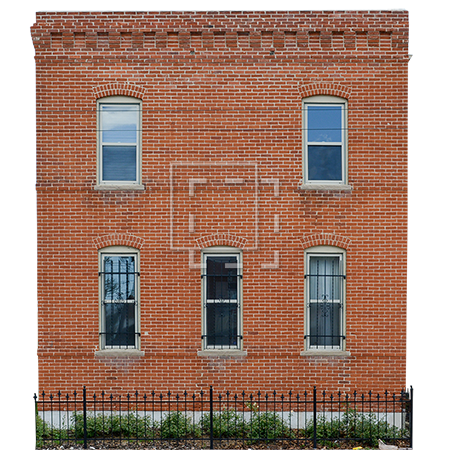Building windows png. Red brick with five