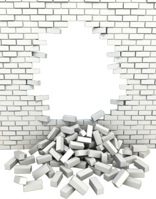 Brick wall hole png. Psd in fence