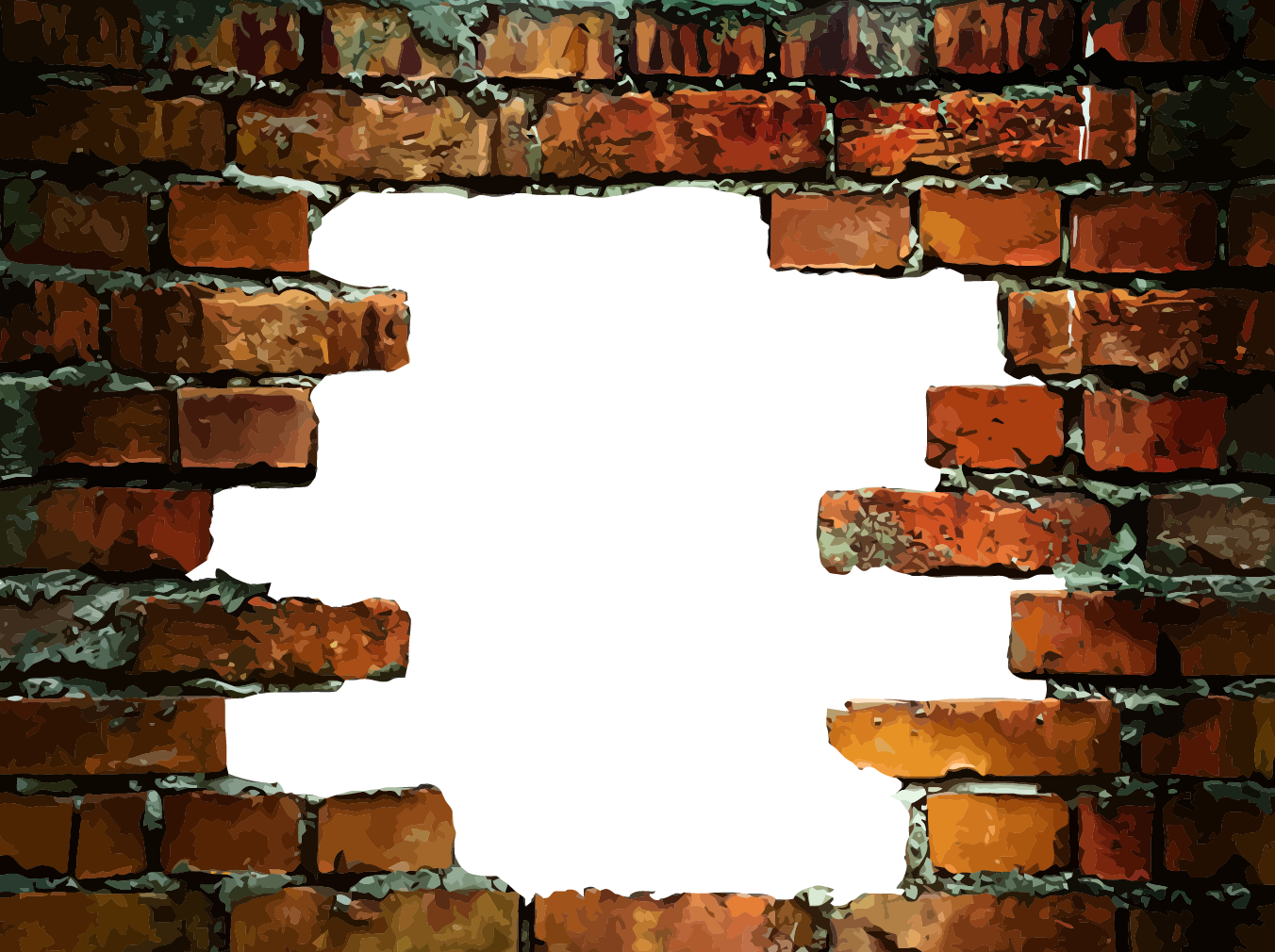 Brick wall hole png. Stone decal in a
