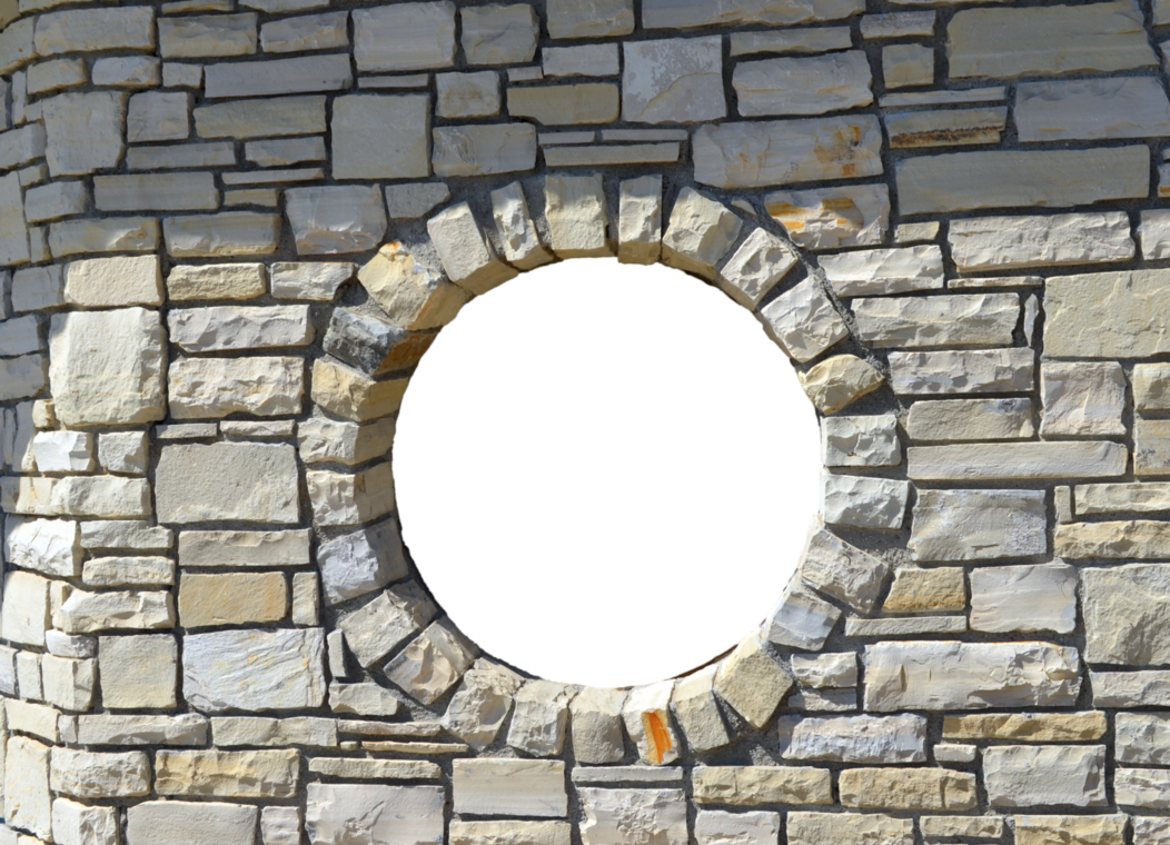 Brick wall png transparent. Round window opening by