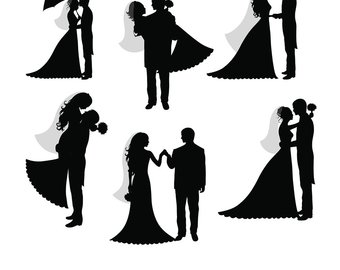 Bridal clipart bride groom. And silhouette wedding at