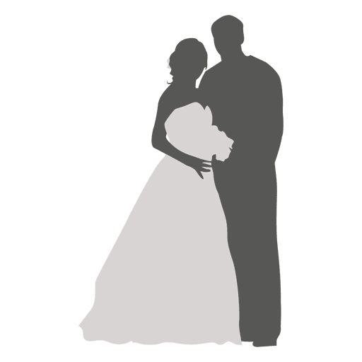 Bride and groom silhouette png. Romancing transparent svg vector