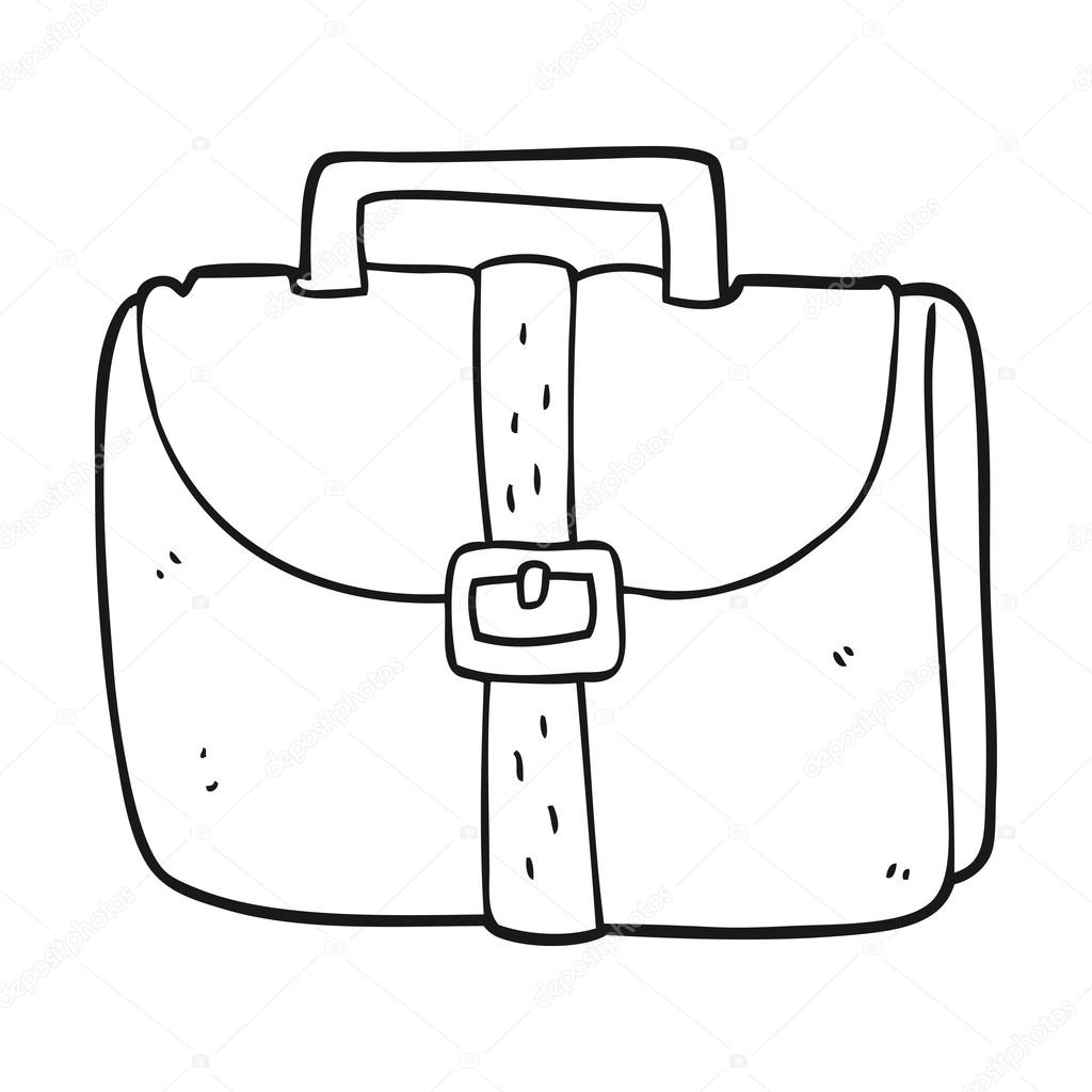 Briefcase clipart black and white. Cartoon old work bag
