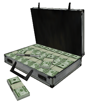 Briefcase of money png. Image w opened counter
