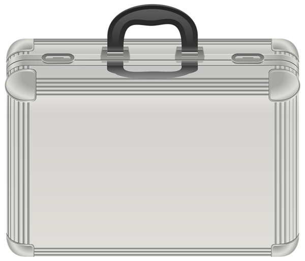 Briefcase transparent silver. Black and white