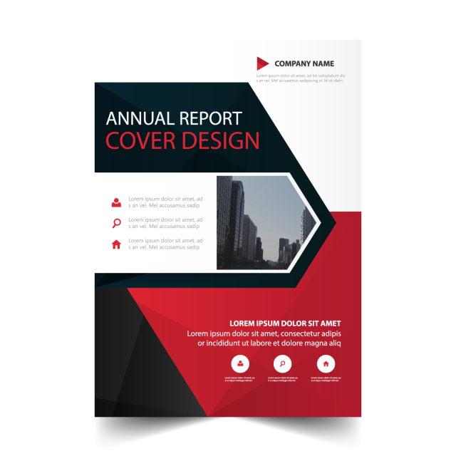 Vector triangles brand. Red triangle annual report