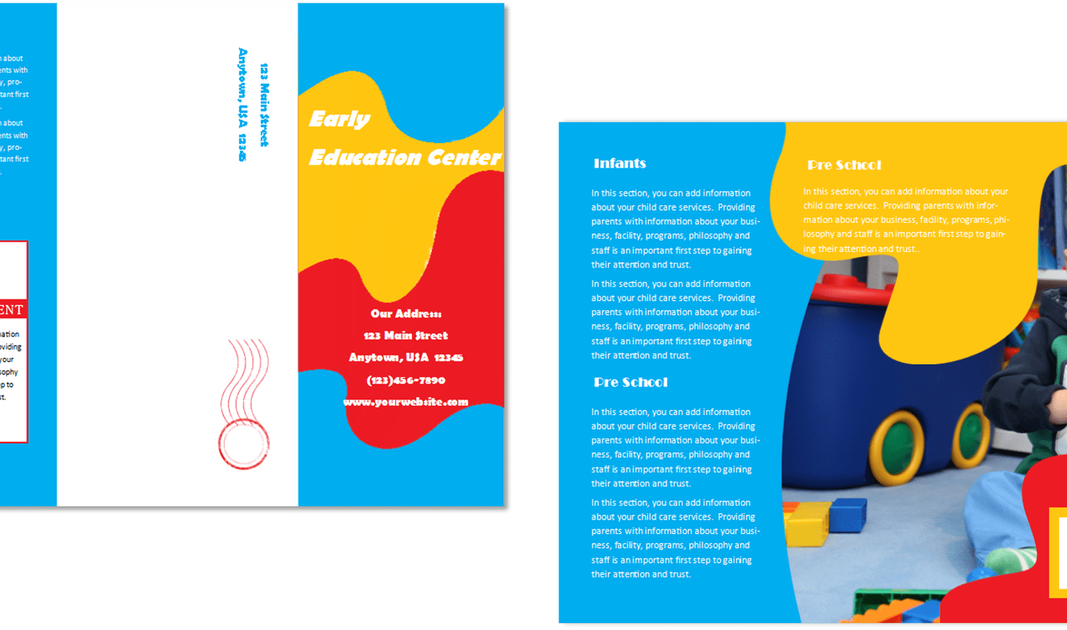 Brochure vector psd. Document template ai care