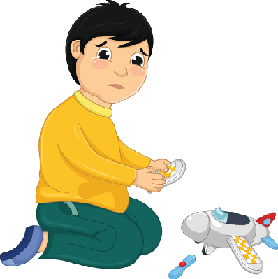 Boy with his illustration. Broken clipart broken toy black and white stock