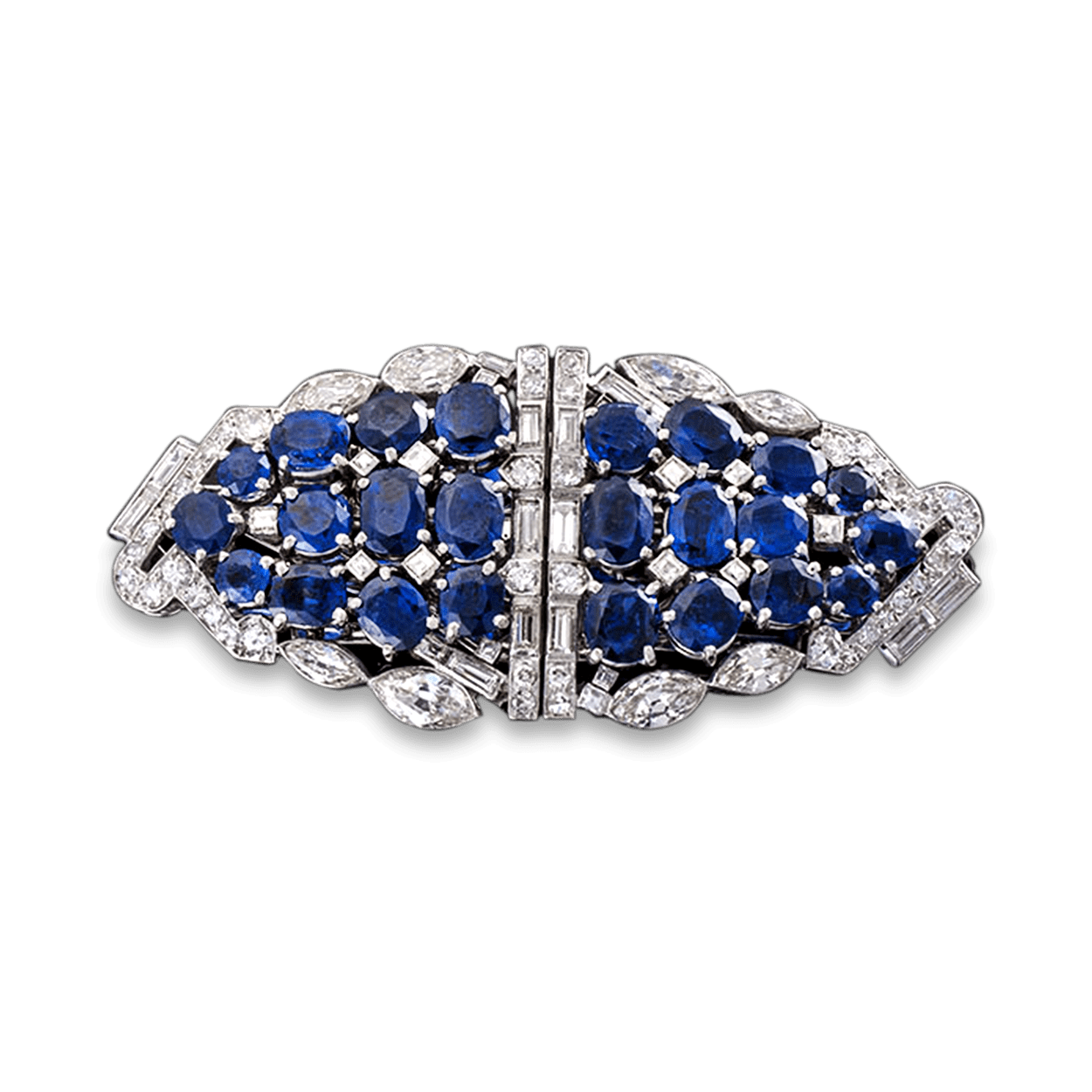 Brooch clip diamond double. Art deco sapphire carats