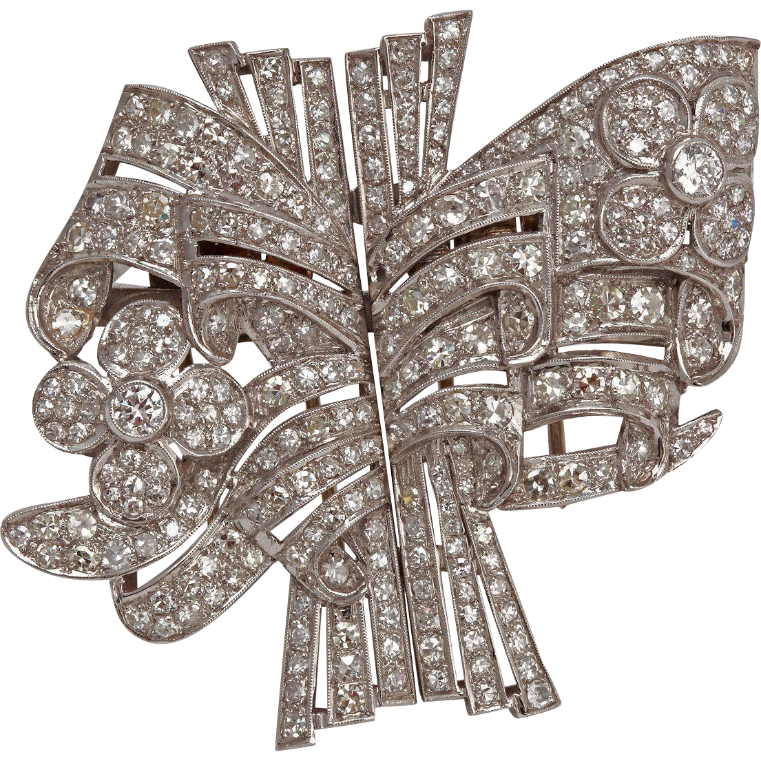 Brooch clip diamond double. Art deco platinum antique