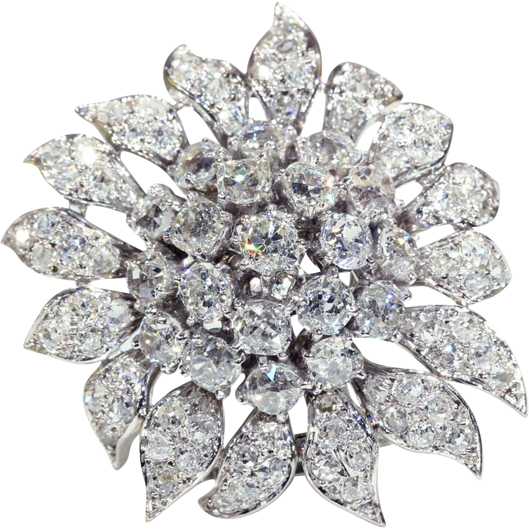 Brooch clip diamond double. Vintage sunflower by chaumet
