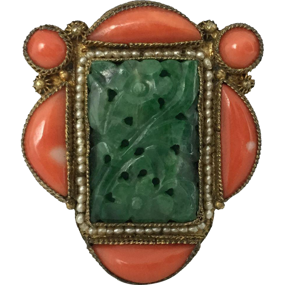 Brooch clip diamond dress. Chinese jade coral and