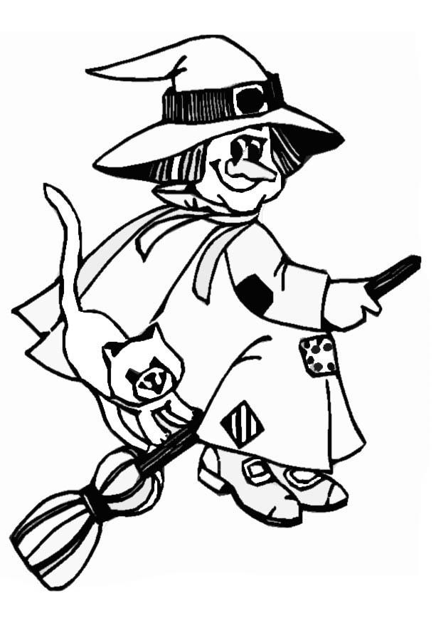 Broom clipart coloring page. Best flying witch free