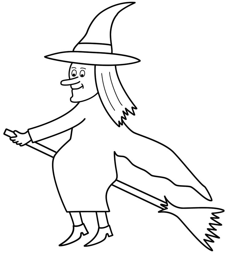 Broom clipart coloring page. The best magic wizards
