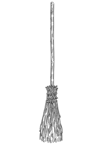 Broom clipart coloring page. Broomstick free printable pages