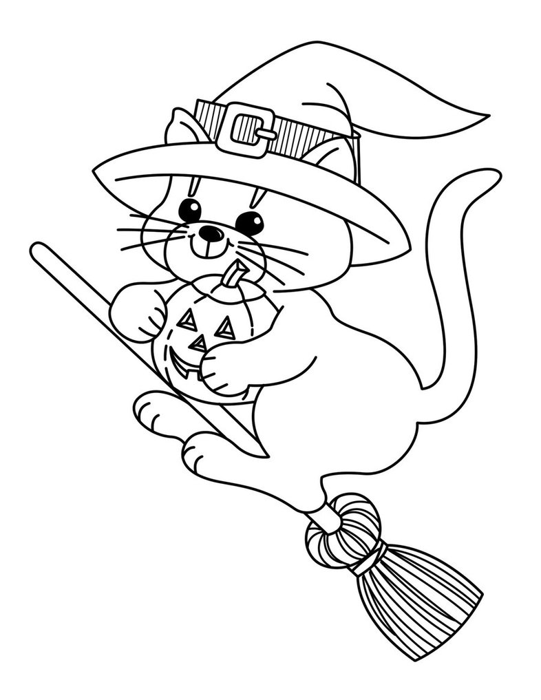 Broom clipart colouring page. Witch on drawing at