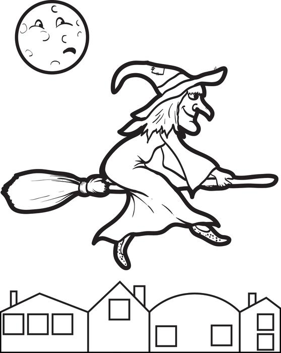 Broom clipart colouring page. Cat witch on coloring