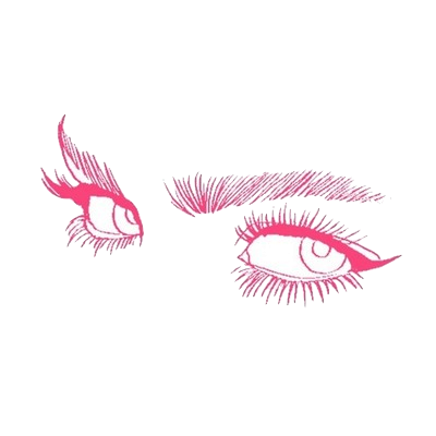 Drawing transparent makeup. Eyes artist business card
