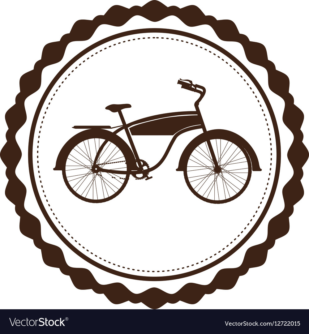 Brown bicycle. Silhouette of classic in