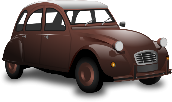 Brown car. Antique clipart transparent