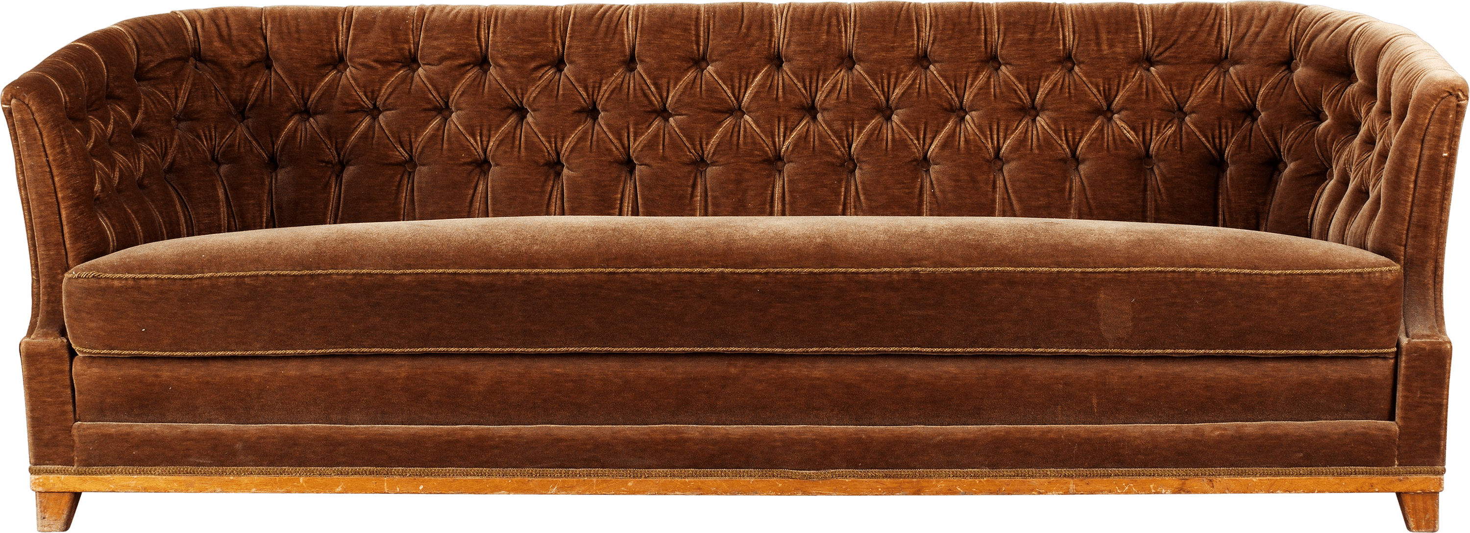 Brown couch png. Large vintage fabric sofa