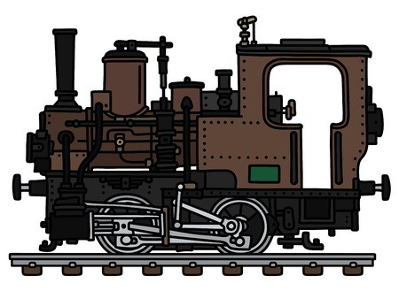 Brown locomotive. The vectorized hand drawing