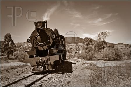 Brown locomotive. Old trains clipart picture