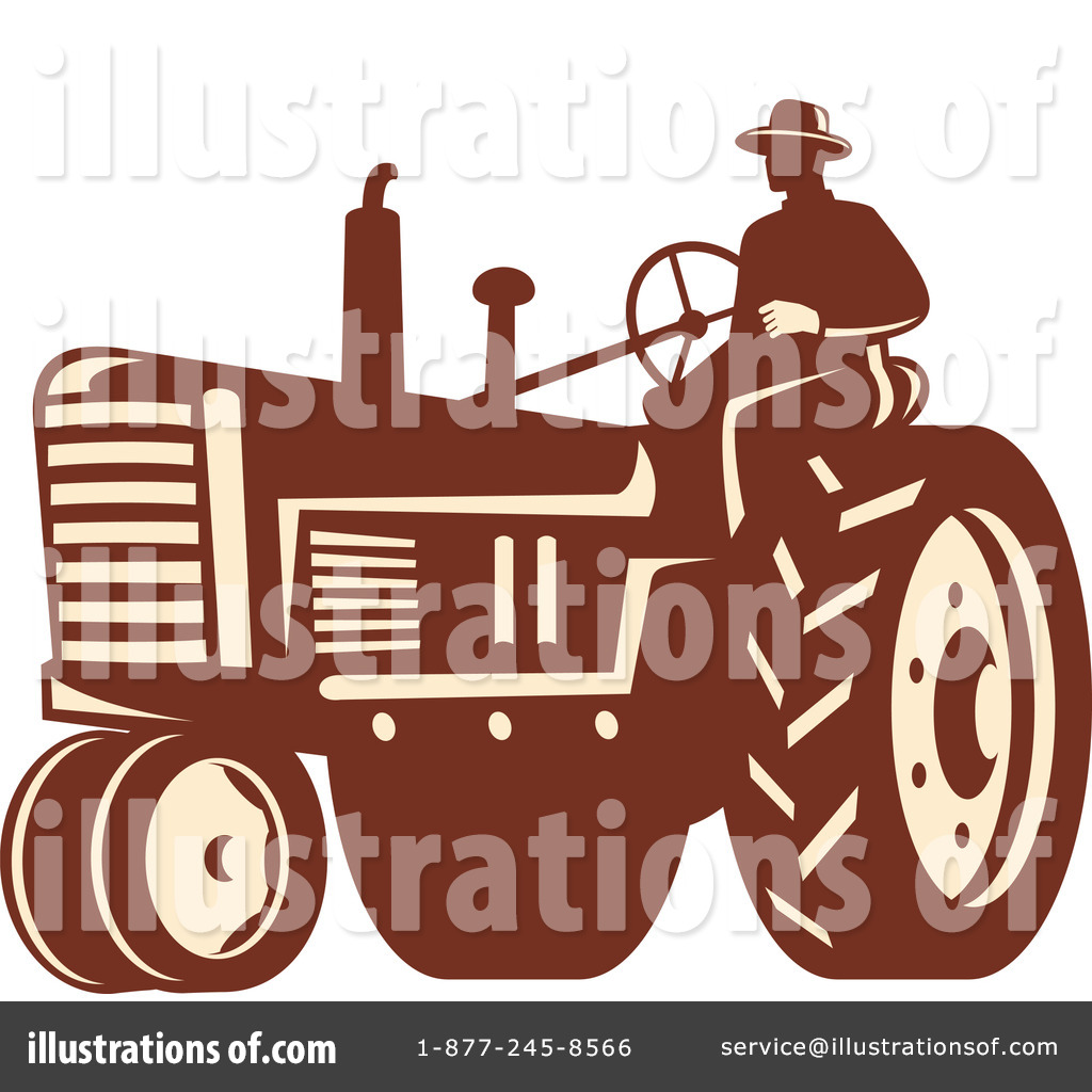 Brown tractor. Clipart illustration by patrimonio