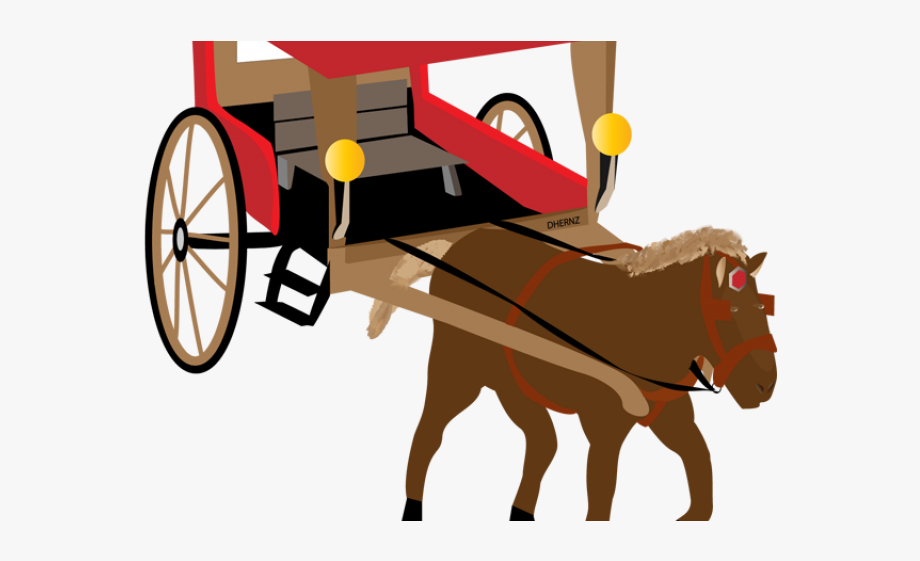 Brown tricycle. Horse drawn carriage clipart