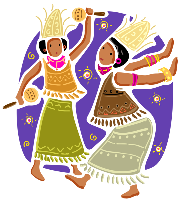Brunch vector folk. Indonesian bali women at