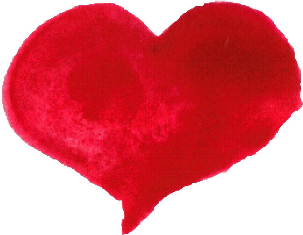 Brush heart png. Red watercolor transparent
