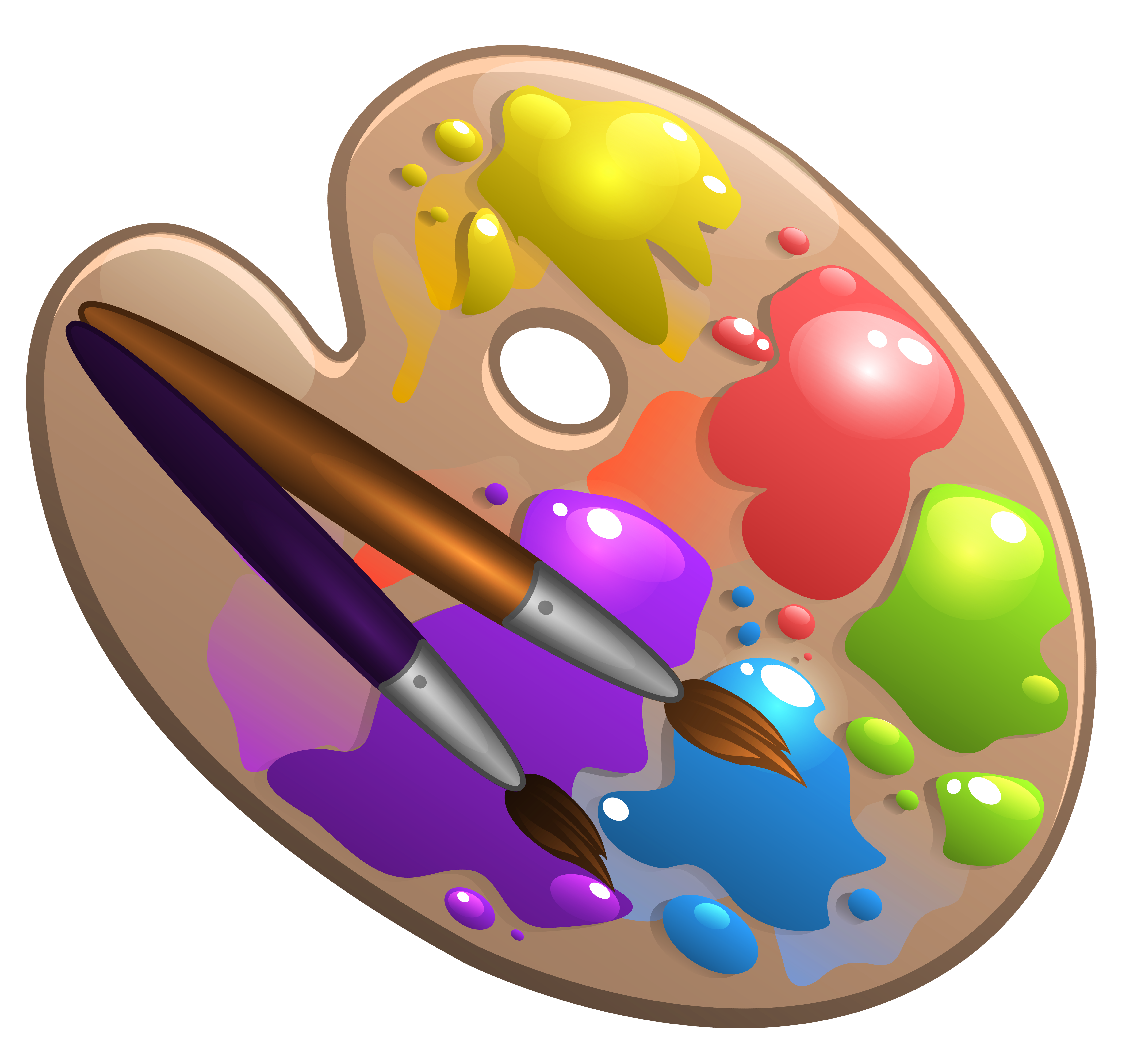 Paintbrush and palette png. School with paint brushes