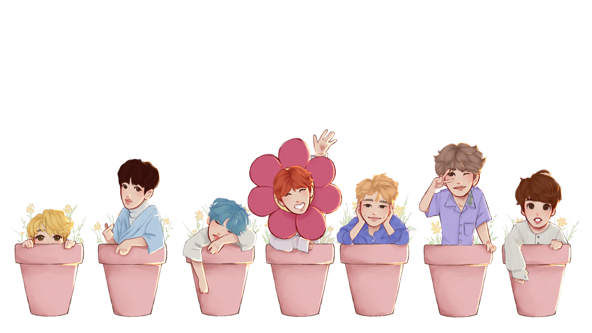 Bts stickers png. Plant pot individual peppermintpapers