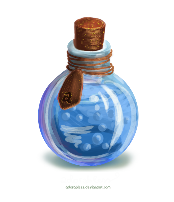Bubbling potion bottle png. Level mana open by