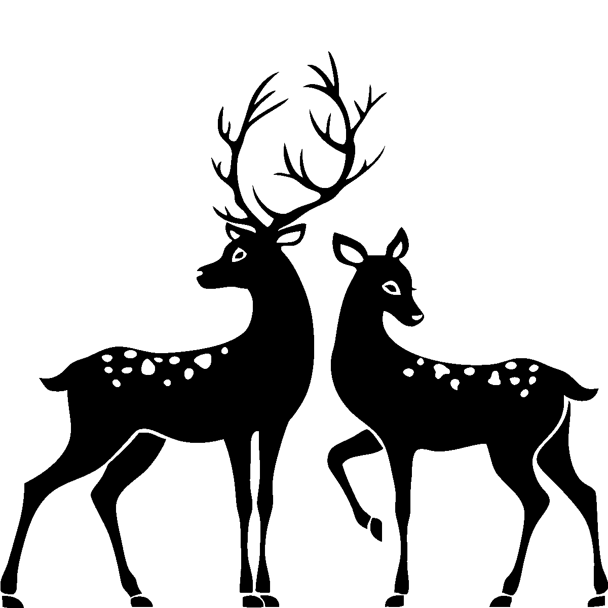 Vector santa stag. Deer silhouette buck and