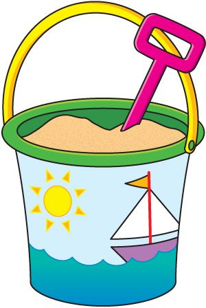 Bucket clipart. Sand black and white